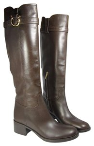 Salvatore Ferragamo Leather Knee-high Brown Boots