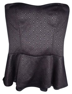 Charlotte Russe Pin Up Girl Peplum Waist Top Black