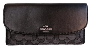 Coach Outline Signature Trifold Checkbook Wallet NWT Smoke Black F55202