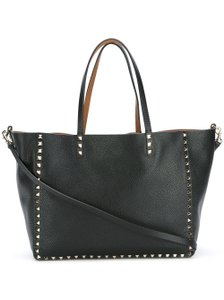 Valentino Reversible Leather Rockstud Tote in black, tan