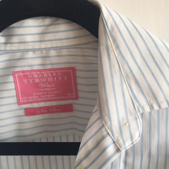 02703e0c6346 Charles Tyrwhitt White And Ligt Blue Stripes Button Down Shirt - 65% Off  Retail low