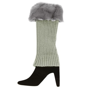Other Gray Fur Top Accent Knit Leg Warmer Boot Socks Boot Topper