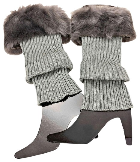 Other Gray Fur Top Accent Knit Leg Warmer Boot Socks Boot Topper Image 1