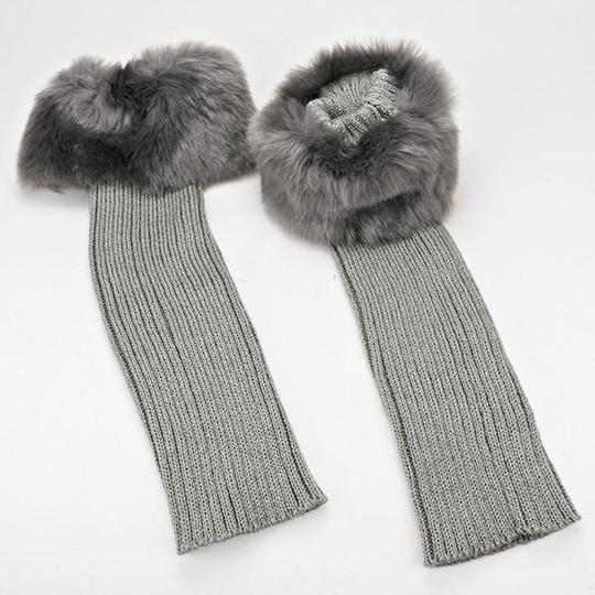 Other Gray Fur Top Accent Knit Leg Warmer Boot Socks Boot Topper Image 2