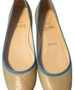 Christian Louboutin Camel with turquoise piping Flats
