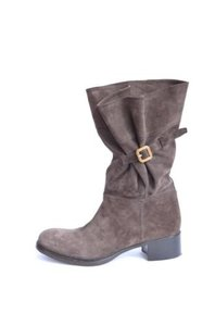 Prada Suede Buckle Dark Taupe/Brown Boots