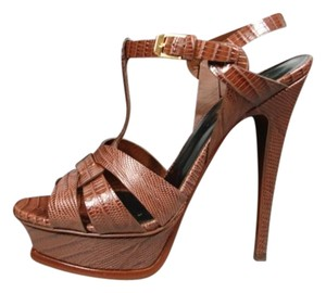 Saint Laurent T-strap New Embossed Leather Crocodile Effect Recessed Brown Brandy Coco Platforms