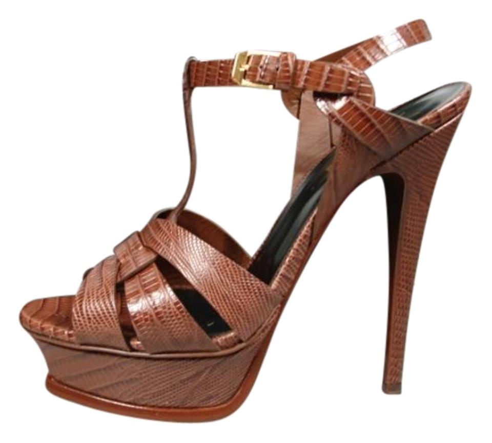 65a3731d3697 Saint Laurent T-strap New Embossed Leather Crocodile Effect Recessed Brown  Brandy Coco Platforms Image ...