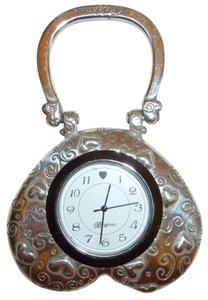Brighton Silver tone heart clock