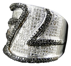 Other Unisex White Gold Finish Black Pinky Fashion Diamond Ring 1.15 Ct