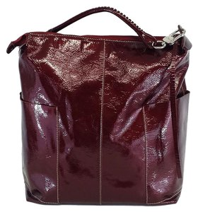 Peter Kent Cherry Red Textured Patent Hobo Bag