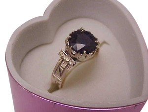 Other Antique 12K Rosey Gold Genuine 2.00cts Solitaire Blue Sapphire Ring