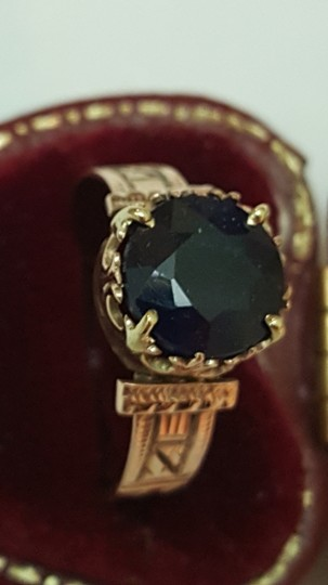 Other Antique 12K Rosey Gold Genuine 2.00cts Solitaire Blue Sapphire Ring Image 1