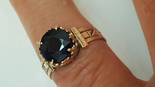 Other Antique 12K Rosey Gold Genuine 2.00cts Solitaire Blue Sapphire Ring Image 2