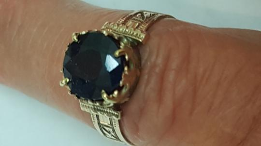 Other Antique 12K Rosey Gold Genuine 2.00cts Solitaire Blue Sapphire Ring Image 3