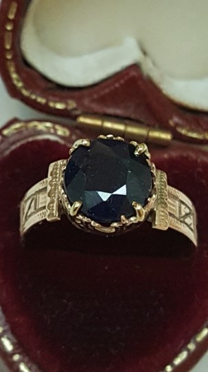 Other Antique 12K Rosey Gold Genuine 2.00cts Solitaire Blue Sapphire Ring Image 4