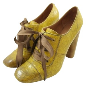Marc Jacobs Lace Ups Yellow Embossed Crocodile Oxfords Stacked Mustard Platforms