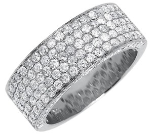 10k White Gold Ladies 3D Round Pave Diamond 9mm Wedding Band Ring 3 ct