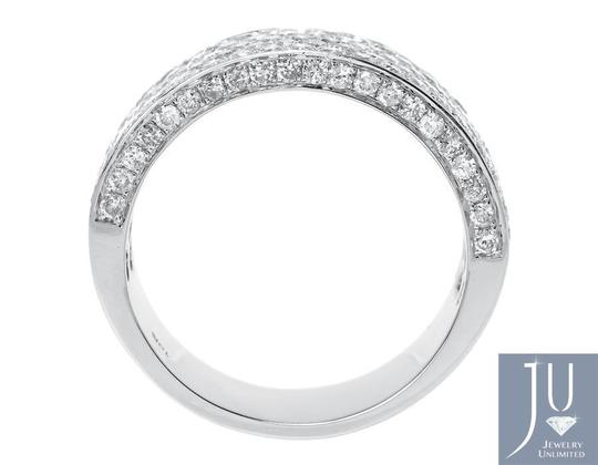Other 10k White Gold Ladies 3D Round Pave Diamond 9mm Wedding Band Ring 3 ct Image 1
