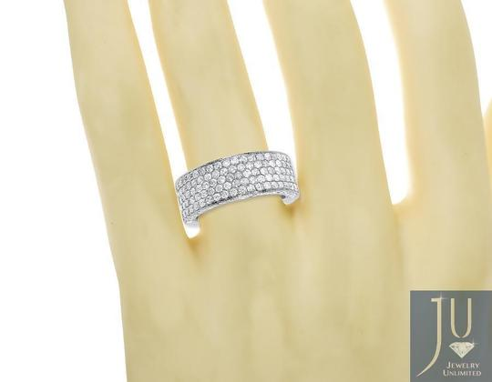 Other 10k White Gold Ladies 3D Round Pave Diamond 9mm Wedding Band Ring 3 ct Image 2