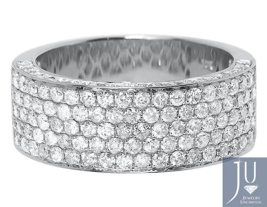Other 10k White Gold Ladies 3D Round Pave Diamond 9mm Wedding Band Ring 3 ct Image 3