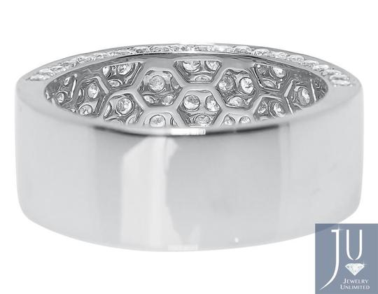 Other 10k White Gold Ladies 3D Round Pave Diamond 9mm Wedding Band Ring 3 ct Image 4