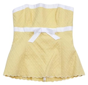 Shoshanna Pale Yellow White Strapless Bow Top