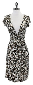 Diane von Furstenberg short dress Tan, ivory, and black Tan Wrap on Tradesy