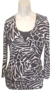 Jules & Leopold Stretch Knit 3/4 Sleeve Cheetah Top Black