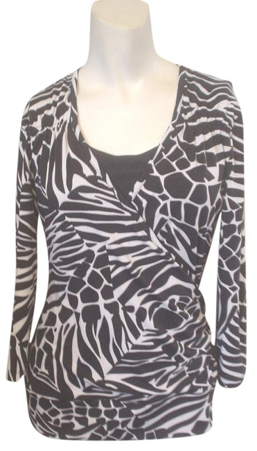 Jules & Leopold Stretch Knit 3/4 Sleeve Cheetah Top Black Image 0
