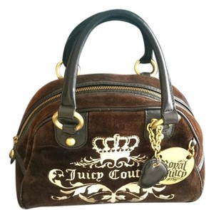 Juicy Couture Monogram Velour Crown/heart Under $50 Satchel in Brown
