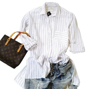 Abercrombie & Fitch Boyfriend Striped Easy Fit Beach Hi-lo Button Down Shirt White