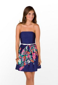 Lilly Pulitzer short dress Dark Blue/Floral Floral Strapless on Tradesy