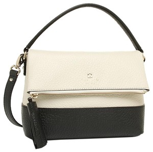 Kate Spade Leather Logo Crossbody Strap Satchel in Porcelain/Black