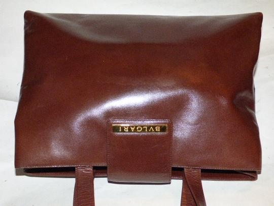 BVLGARI Made By Xl Tote/Satchel Gold Hardware Great Everyday Mint Condition Satchel in Brown Image 11
