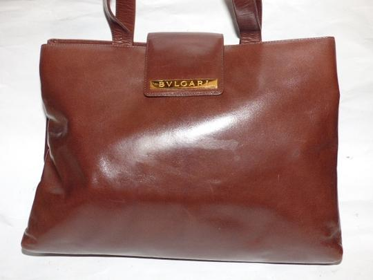 BVLGARI Made By Xl Tote/Satchel Gold Hardware Great Everyday Mint Condition Satchel in Brown Image 9