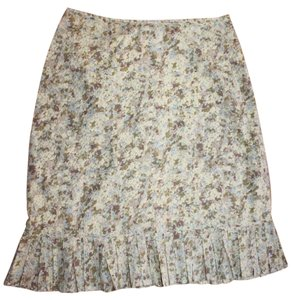 Anthropologie Pleated Hem Cotton Skirt FLORAL