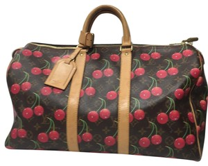 Louis Vuitton Red And Brown Travel Bag