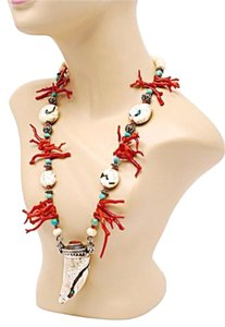Other Native American Coral/Turquoise/Horn/Sterling Silver Necklace