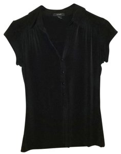 Alfani Dress Shirt Short Sleeve Top Black