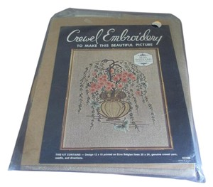 Other Vintage Crewel Embroidery Kit Elsa Williams Flowers New