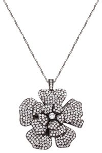 Black and White Cubic Zirconia Large Flower Necklace [SHIPS NEXT DAY]