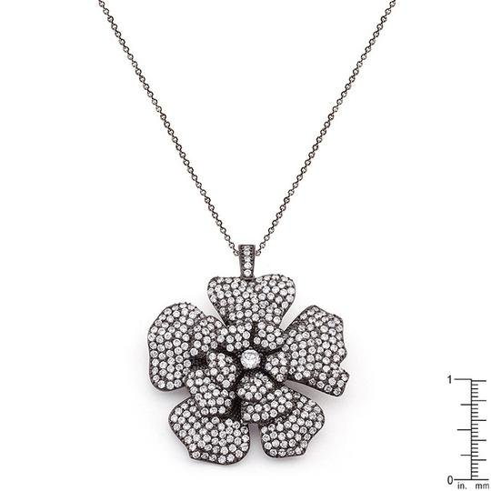 Other Black and White Cubic Zirconia Large Flower Necklace [SHIPS NEXT DAY] Image 1
