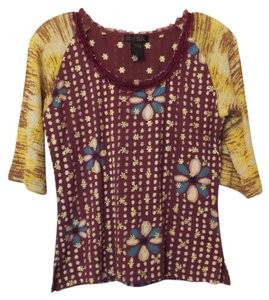 Custo Barcelona Large Embroidered Top Burgundy, yellow, blue, off-white