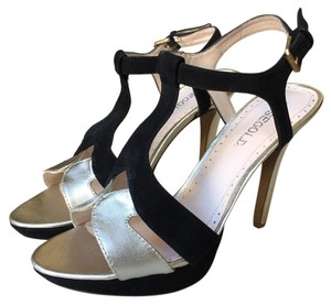 Rosegold Shoes Sandal Heels Black Gold Platforms