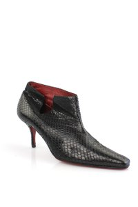 Christian Louboutin Snakeskin Ankle Black Boots