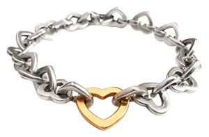 Tiffany & Co. Tiffany & Co 18K Yellow Gold Heart & Sterling Silver Bracelet