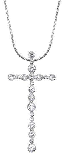 Other Slim Cubic Zirconia Cross Pendant Necklace Image 0