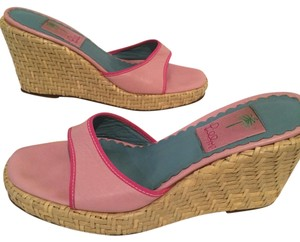 Lilly Pulitzer Pink, Tan Wedges