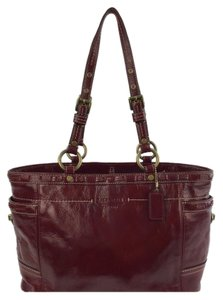 Coach Vintage Tote Patent Leather Satchel in Maroon